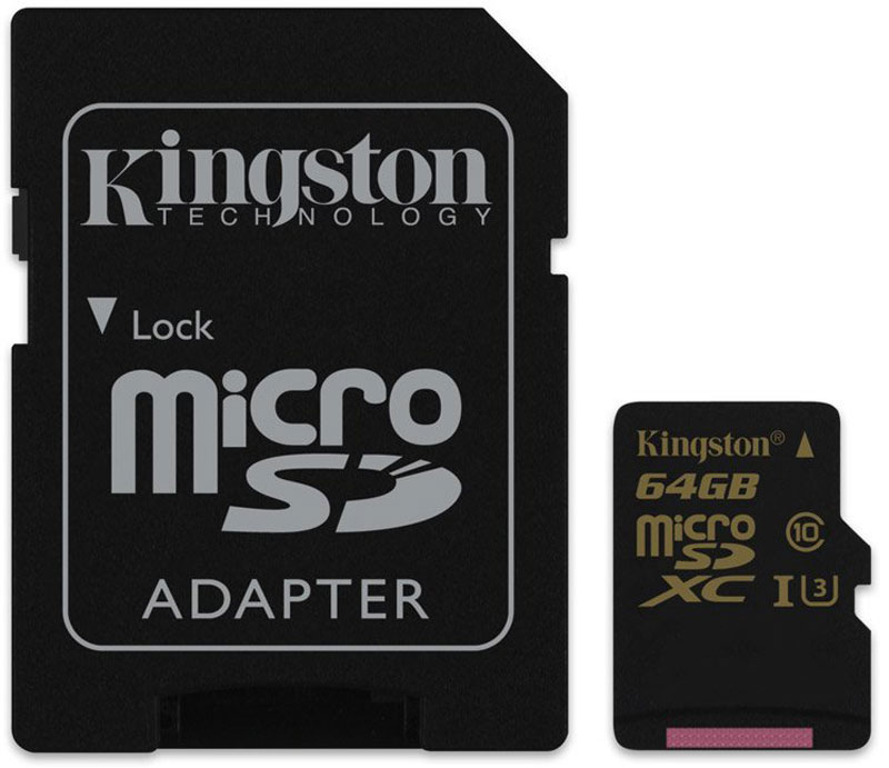 Kingston microSDXC Gold UHS-I Speed Class 3 (U3) 64GB карта памяти с адаптером