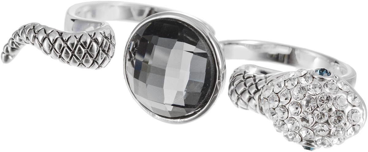 Кольцо на два пальца Art-Silver, цвет: серебряный. 02028-2-1067. Размер 18,5Коктейльное кольцоОригинальное кольцо Art-Silver выполнено из бижутерного сплава с гальваническим покрытием. Кольцо на два пальца в виде змеи украшено декоративными вставками.Элегантное кольцо Art-Silver превосходно дополнит ваш образ и подчеркнет отменное чувство стиля своей обладательницы.
