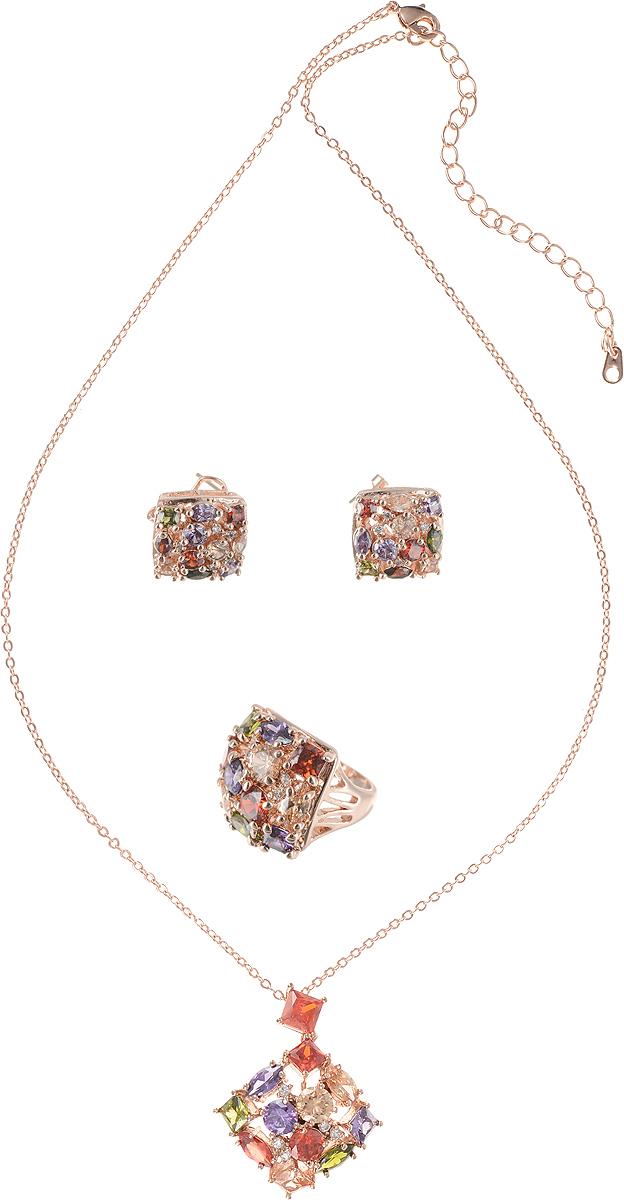 Комплект Ажурная капля от Arrina: кулон на цепочке, кольцо и серьги. Разноцветные кристаллы, прозрачные стразы, бижутерный сплав золотого тона. ГонконгПуссеты (гвоздики)Роскошный комплект Ажурная капля от Arrina: кулон на цепочке, кольцо и серьги.Разноцветные кристаллы, прозрачные стразы, бижутерный сплав золотого тона.Гонконг. Размер:Цепочка - полная длина 42-48 см, регулируется за счет застежки-цепочки.Кулон - 2 х 2 см.Серьги - 1,5 х 1,5 см.Кольцо - размер 18 (по российским стандартам).