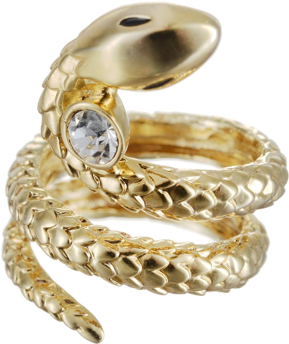 Кольцо Art-Silver, цвет: золотой. 527-300. Размер 17Коктейльное кольцоОригинальное кольцо Art-Silver выполнено из бижутерного сплава с гальваническим покрытием. Кольцо в виде змеи украшено декоративными вставками.Элегантное кольцо Art-Silver превосходно дополнит ваш образ и подчеркнет отменное чувство стиля своей обладательницы.
