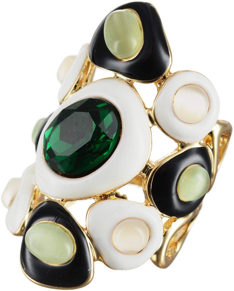 Кольцо Art-Silver, цвет: золотой, белый, зеленый. 066760-603-967. Размер 18Коктейльное кольцоОригинальное кольцо Art-Silver выполнено из бижутерного сплава с гальваническим покрытием. Кольцо украшено декоративными вставками.Элегантное кольцо Art-Silver превосходно дополнит ваш образ и подчеркнет отменное чувство стиля своей обладательницы.