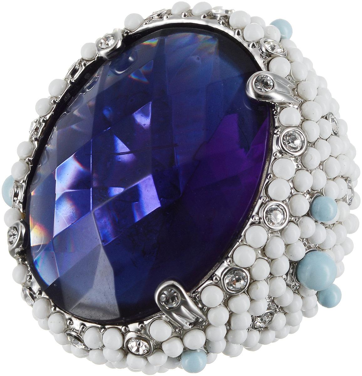 Кольцо Art-Silver, цвет: серебряный, синий, белый. 428-2106. Размер 18Коктейльное кольцоОригинальное кольцо Art-Silver выполнено из бижутерного сплава с гальваническим покрытием. Кольцо украшено декоративными вставками.Элегантное кольцо Art-Silver превосходно дополнит ваш образ и подчеркнет отменное чувство стиля своей обладательницы.