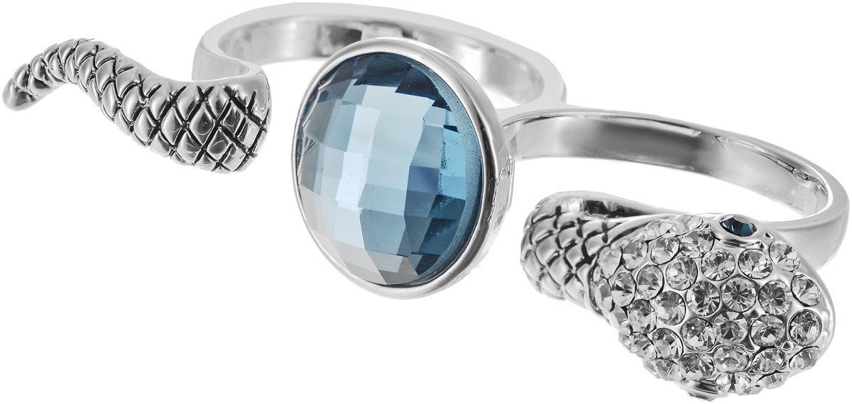 Кольцо на два пальца Art-Silver, цвет: серебряный, голубой. 02028-1067. Размер 18Коктейльное кольцоОригинальное кольцо Art-Silver выполнено из бижутерного сплава с гальваническим покрытием. Кольцо на два пальца в виде змеи украшено декоративными вставками.Элегантное кольцо Art-Silver превосходно дополнит ваш образ и подчеркнет отменное чувство стиля своей обладательницы.