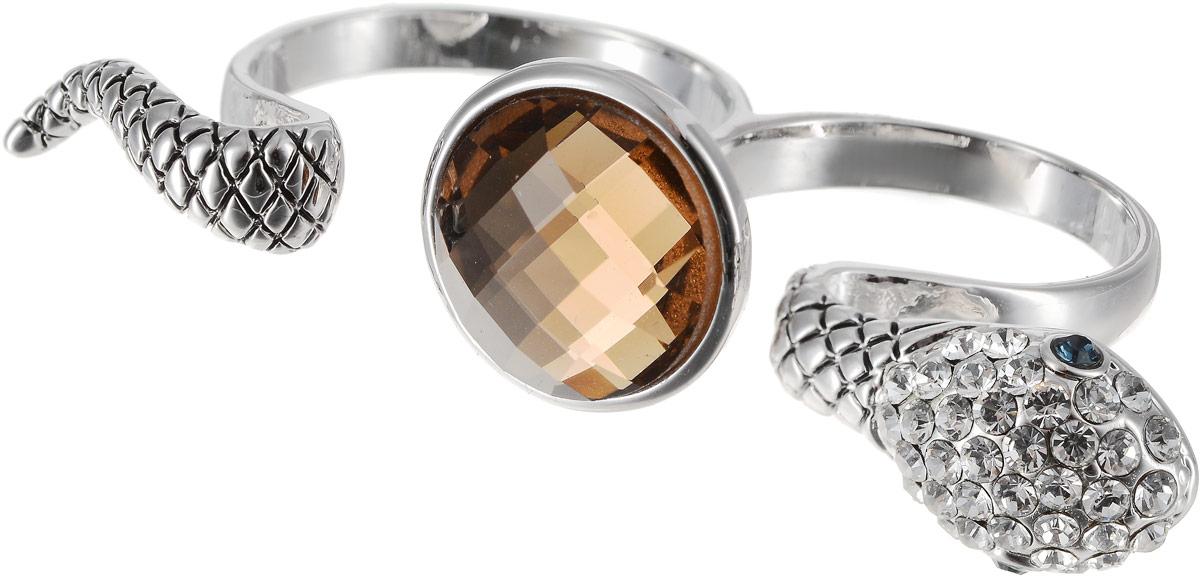 Кольцо на два пальца Art-Silver, цвет: серебряный, бежевый. 02029-1-1116. Размер 18Коктейльное кольцоОригинальное кольцо Art-Silver выполнено из бижутерного сплава с гальваническим покрытием. Кольцо на два пальца в виде змеи украшено декоративными вставками.Элегантное кольцо Art-Silver превосходно дополнит ваш образ и подчеркнет отменное чувство стиля своей обладательницы.
