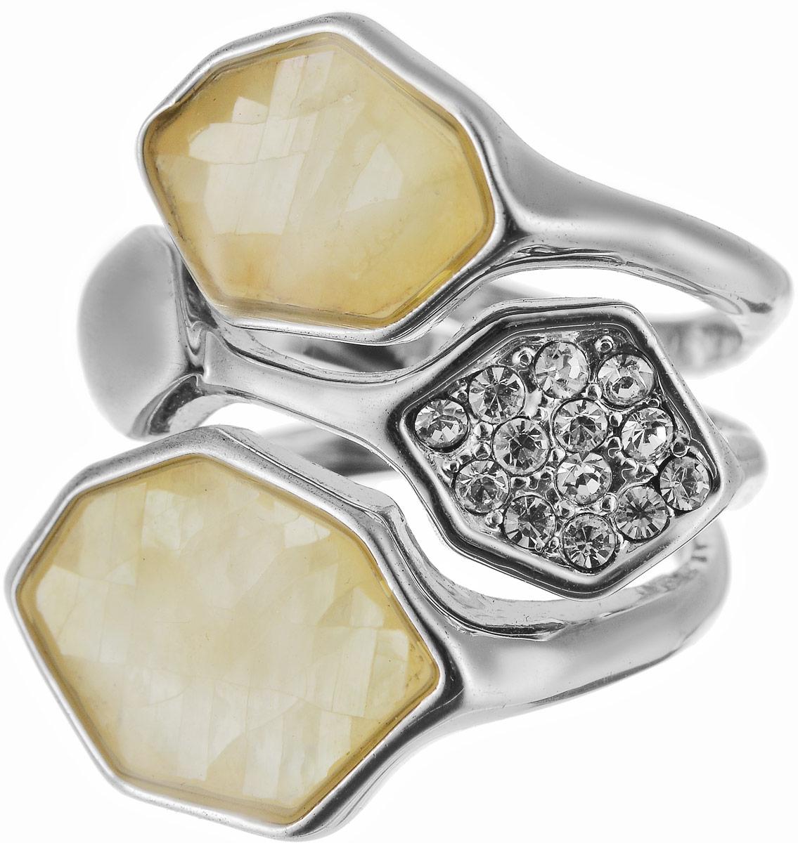 Кольцо Art-Silver, цвет: серебряный, бежевый. ЛМ049491-703-721. Размер 17,5Коктейльное кольцоОригинальное кольцо Art-Silver выполнено из бижутерного сплава с гальваническим покрытием. Кольцо украшено декоративными вставками.Элегантное кольцо Art-Silver превосходно дополнит ваш образ и подчеркнет отменное чувство стиля своей обладательницы.