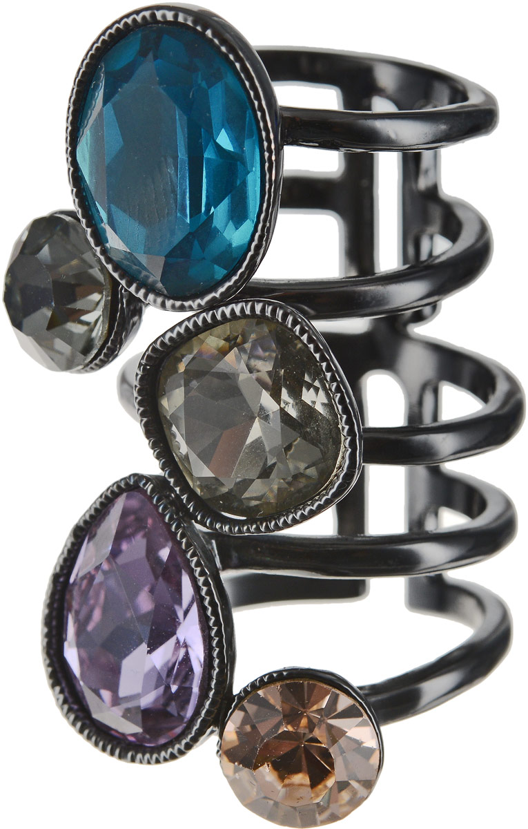 Кольцо Art-Silver, цвет: черный, синий, фиолетовый. 054912-1-1290. Размер 17Коктейльное кольцоОригинальное кольцо Art-Silver выполнено из бижутерного сплава с гальваническим покрытием. Кольцо украшено декоративными вставками.Элегантное кольцо Art-Silver превосходно дополнит ваш образ и подчеркнет отменное чувство стиля своей обладательницы.