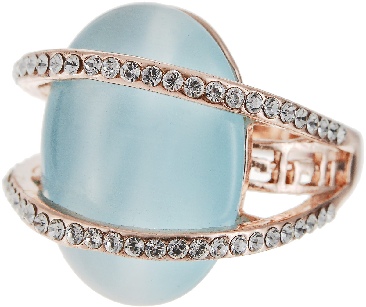 Кольцо Art-Silver, цвет: золотой, голубой. 064984-702-818. Размер 18Коктейльное кольцоОригинальное кольцо Art-Silver выполнено из бижутерного сплава с гальваническим покрытием. Кольцо украшено декоративными вставками.Элегантное кольцо Art-Silver превосходно дополнит ваш образ и подчеркнет отменное чувство стиля своей обладательницы.