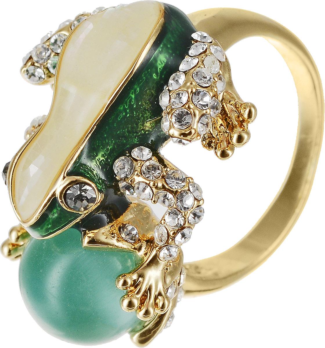 Кольцо Art-Silver, цвет: золотой, зеленый. 055R-1283. Размер 17Коктейльное кольцоОригинальное кольцо Art-Silver выполнено из бижутерного сплава с гальваническим покрытием. Кольцо украшено декоративными вставками.Элегантное кольцо Art-Silver превосходно дополнит ваш образ и подчеркнет отменное чувство стиля своей обладательницы.