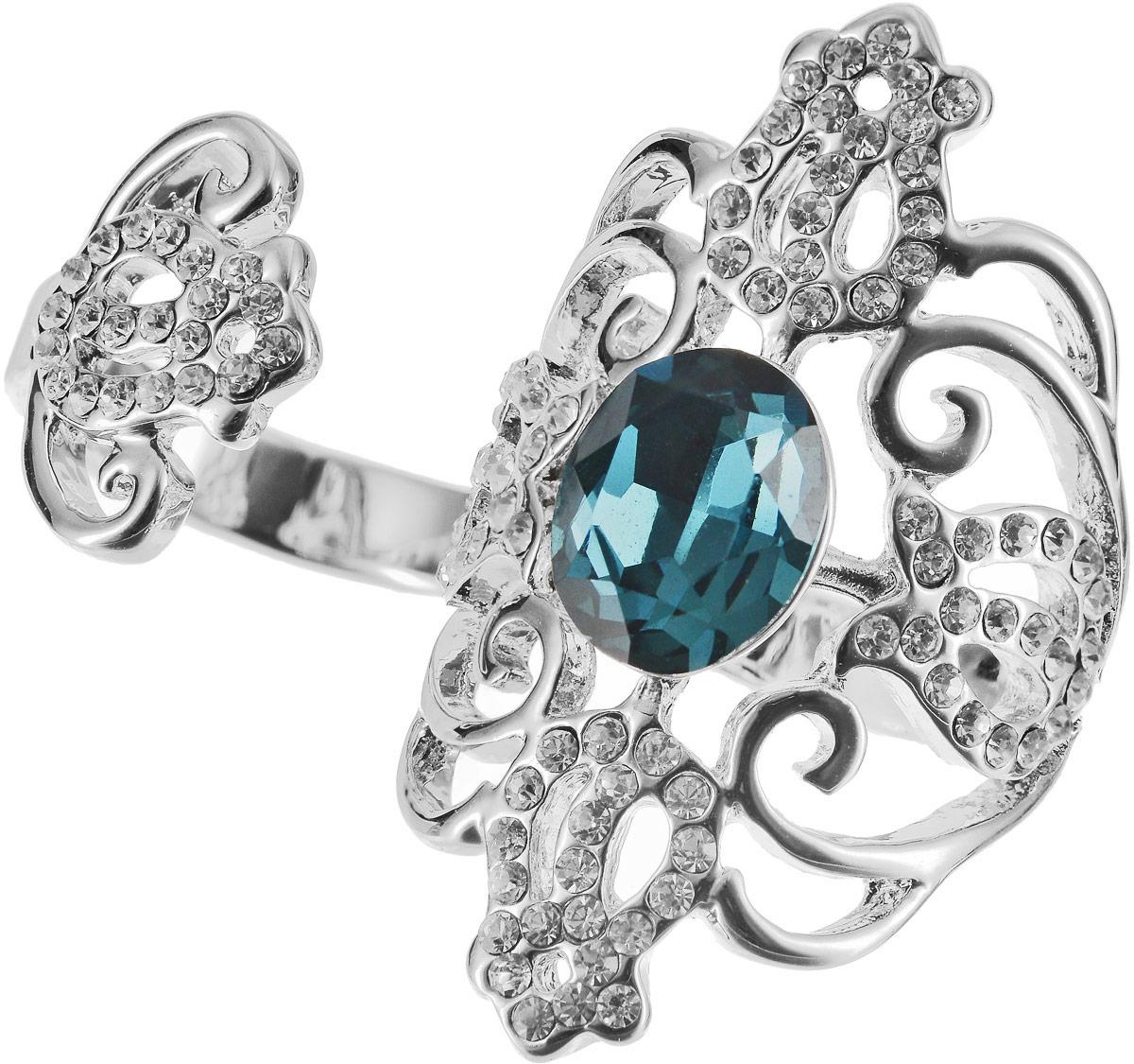 Кольцо на два пальца Art-Silver, цвет: серебряный, бирюзовый. 06816-1319. Размер 17,5Коктейльное кольцоОригинальное кольцо Art-Silver выполнено из бижутерного сплава с гальваническим покрытием. Кольцо на два пальца украшено декоративными вставками.Элегантное кольцо Art-Silver превосходно дополнит ваш образ и подчеркнет отменное чувство стиля своей обладательницы.