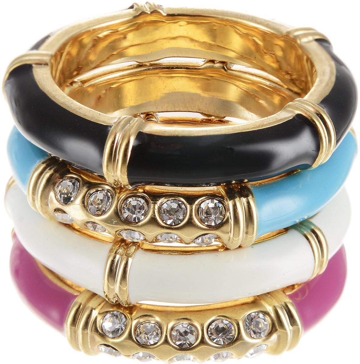 Кольцо Art-Silver, цвет: золотой, мультиколор. 00608-1154. Размер 17Коктейльное кольцоОригинальное кольцо Art-Silver выполнено из бижутерного сплава с гальваническим покрытием. Кольцо украшено декоративными вставками и состоит из нескольких частей, которые можно одевать в разном порядке.Элегантное кольцо Art-Silver превосходно дополнит ваш образ и подчеркнет отменное чувство стиля своей обладательницы.
