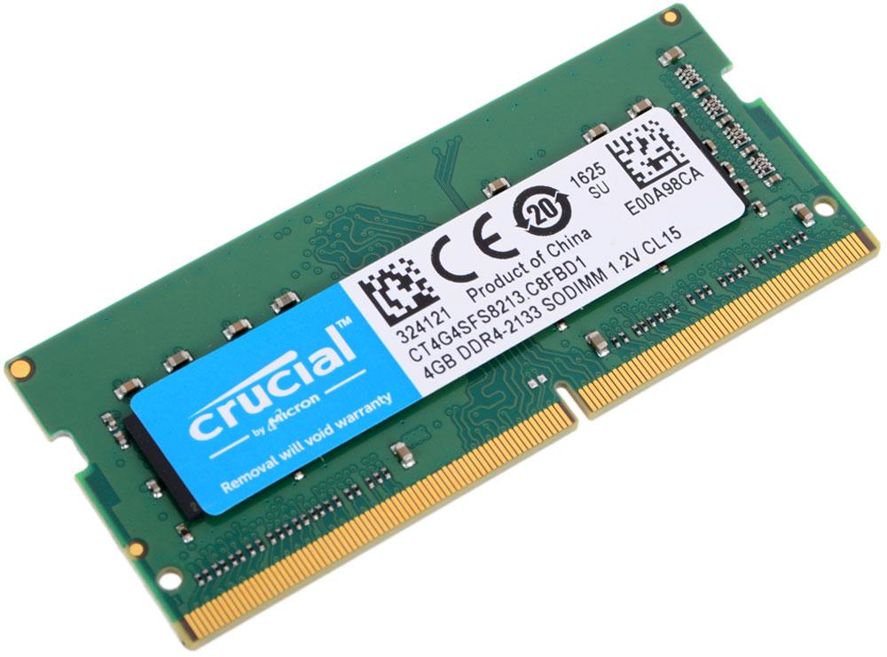 Crucial SODIMM DDR4 4GB 2133МГц модуль оперативной памятиCT4G4SFS8213Модуль оперативной памяти для ноутбуков Crucial CT4G4SFS8213 обеспечивает увеличенную рабочую частоту при сниженном тепловыделении и экономном энергопотреблении. Напряжение питания при работе составляет 1,2 В. При производстве оперативной памяти использовались только передовые технологи, с использованием качественных и прочных материалов, которые после установки позволят ноутбуку работать быстро, плавно, без зависаний. Мощная начинка способна работать с частотой 2133 МГц, а пропускная способность достигает 17000 Мб/с. Объем памяти составляет - 4 гигабайта. Отличные характеристики, которые смогут удовлетворить потребности большинства пользователей.