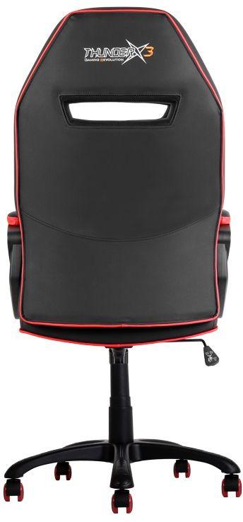 ThunderX3 TX3-10, Black Red профессиональное геймерское креслоTX3-10BRПрочная металлическая основа.Мягкий кожзам.Тип механизма бабочка.Пневматическая регулировка высоты сиденья.Угол раскачивания 3° - 18°.50 мм нейлоновые колесики.