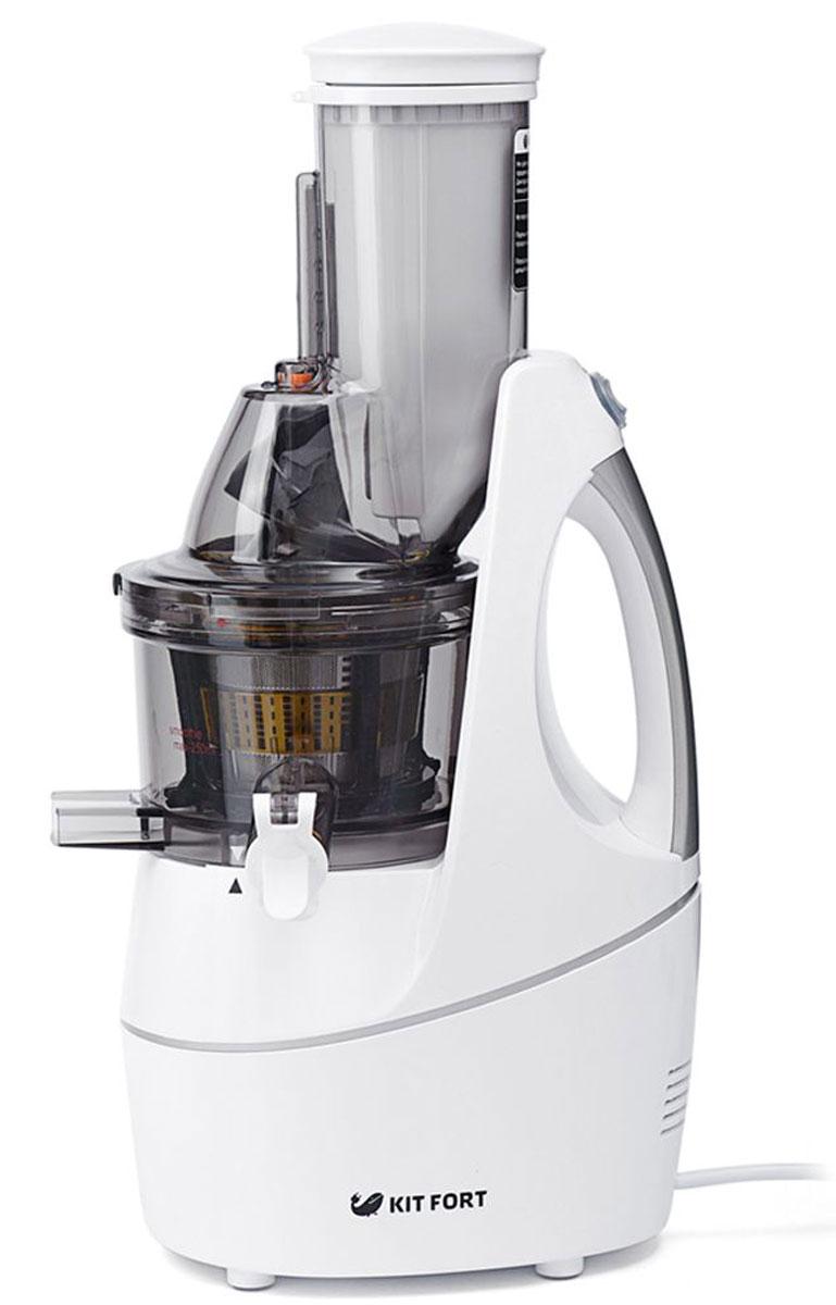 Kitfort КТ-1104-1 соковыжималка электрическаяКТ-1104-1Шнековая соковыжималка Kitfort КТ-1104 позволяет отжимать максимально возможное количество сока из фруктов, овощей и зелени с сохранением всех его полезных компонентов: витаминов, аминокислот и минералов. Сок во время отжима не нагревается и не окисляется. Соковыжималкалегко собирается и просто моется после работы.Шнековая соковыжималка использует технологию низкоскоростного отжима в отличие от технологии измельчения и последующего отжима сока при помощи центрифуги, применяемой в центробежных соковыжималках. Технология низкоскоростного отжима (Low Speed Technology System, LSTS) позволяет извлечь максимальное количество питательных веществ, витаминов и ферментов из минимального количества исходного продукта, например из фруктов, овощей или зелени.В отличие от обычной центробежной высокоскоростной соковыжималки, работающей при 1000-24000 об/мин и потребляющей до 1500 Вт электроэнергии, шнековая соковыжималка работает на низких скоростях вращения, около 60 об/мин, и потребляет всего 240 Вт. Однако, несмотря на малую скорость вращения, шнековая соковыжималка отжимает сок так же быстро, как и традиционная центробежная. Спиралевидный шнек-пресс из ультрапрочного материала дробит и прессует продукт, а затем продавливает мякоть через фильтр, отделяя жмых от сока. Эта технология позволяет сохранить гораздо больше питательных веществ, содержащихся в овощах и фруктах, и получить сок с высоким содержанием клетчатки и растительных ферментов, являющихся природными антиоксидантами.Низкая скорость вращения обеспечивает значительно более низкую температуру в процессе отжима в отличие от центробежной соковыжималки, что способствует сохранению питательной ценности продуктов. В шнековой соковыжималке сок почти не вспенивается, а время его контакта с воздухом минимально, поэтому сок не окисляется кислородом воздуха.