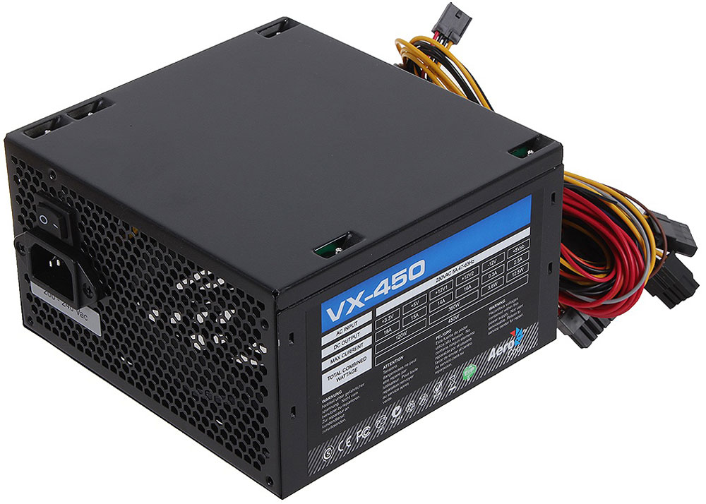 Aerocool VX-450W блок питания для компьютера4713105953558Aerocool VX-450W - это эффективный, надёжный и недорогой блок питания с низким уровнем шумов и помех.Блоки питания линейки VX – самые доступные в ассортименте Aerocool и предназначены для систем начального уровня. Они собраны извысококачественных компонентов и обеспечивают стабильное инадёжное питание для всего системного блока.Хотя устройства линейки VX предназначены для сборки системначального уровня, Aerocool снабдила их всем необходимым. БП VX работает без шумов и помех, защищён от перепадов напряжения в сети и оборудован 12-см вентилятором с умным управлением скоростью вращения.