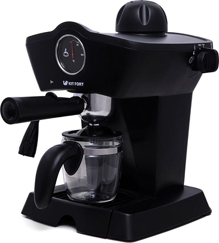 Kitfort КТ-706 кофеваркаКТ-706Рожковая полуавтоматическая эспрессо-кофеварка Kitfort КТ-706 может приготовить до 4 чашек кофе за один раз, оснащена функцией взбивания молока для приготовления капучино, латте или торо, а также поможет разогреть напитки горячим паром.Принцип действия кофеварки Kitfort КТ-706 основан на пропускании горячей воды под давлением в несколько атмосфер через слой молотого кофе. Температура воды контролируется встроенным термостатом. Это позволяет быстро и полно экстрагировать из кофейной заварки все полезные вещества и получить отличный кофе эспрессо с пенкой. Готовый кофе наливается в подставленную чашку или специальный кофейник, идущий в комплекте.Корпус кофеварки выполнен из пластика. На панели управления установлен термометр для отображения температуры воды в бойлере. Металлический фильтр с лазерным нанесением отверстий долговечен и не требует использования каких-либо расходных материалов.Длина шнура: 75 см