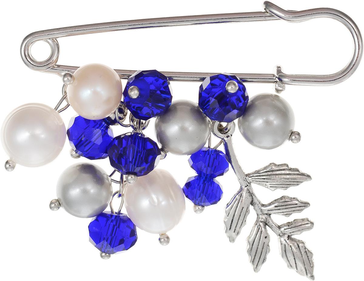 Брошь Револю Флорентина, цвет: синий. БШкам-751Ажурная брошьРазмер броши-булавки: 1,4 х 5,0 см. Размер с подвеской: 4,6 х 5,0 см. Обворожительный жемчуг - это давний любимец женщин и одно из достойнейших украшений! Даже королевы всегда предпочитали жемчуг сверкающей роскоши бриллиантов! Желаете выглядеть настоящей королевой? Нет ничего проще - носите жемчуг! Великолепные жемчужные драгоценности вы всегда можете приобрести в нашем интернет-магазине!