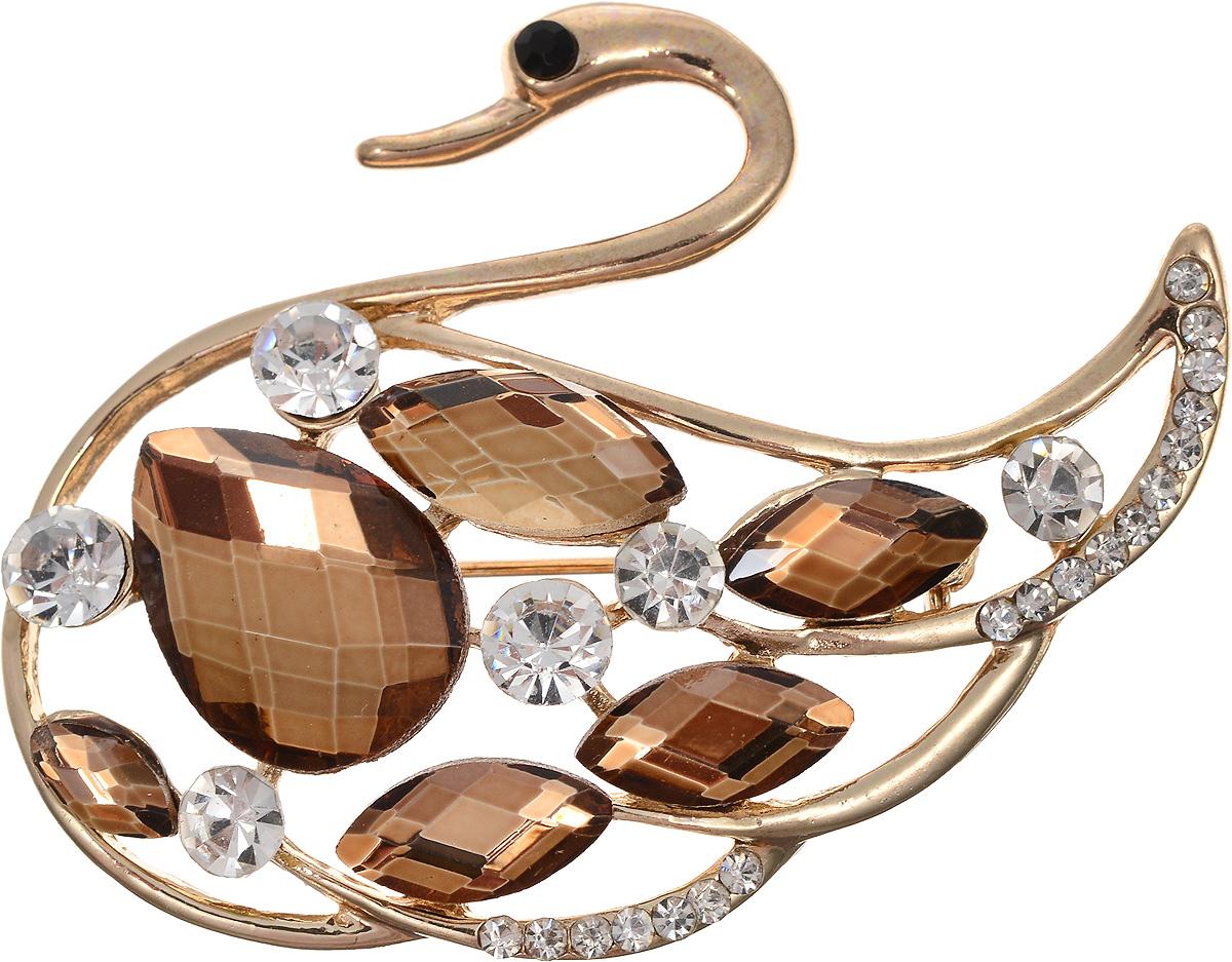 Брошь Револю Модница, цвет: коричневый. БШкам-714Ажурная брошьРазмер: 40 х 55 мм. Сияющие стразы из лучшего хрусталя - отличная замена всем на свете натуральным камням! Стразы стоят дешевле камня, но позволяют вам сиять, словно богиня - и собрать значительную коллекцию украшений за те же деньги, что вы потратили бы на драгоценности! Каждый день королева, каждый день знаменитость - стоит только надеть эту блистательную вещицу со стразами!