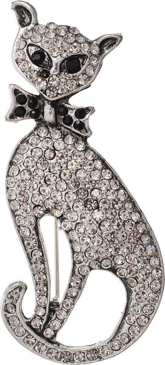 Брошь Револю Киса, цвет: серый. бшС-1614Брошь-булавкаМатериал: страз. Метал: ювелирный сплав. Размер: 2,4 х 5,2 см.