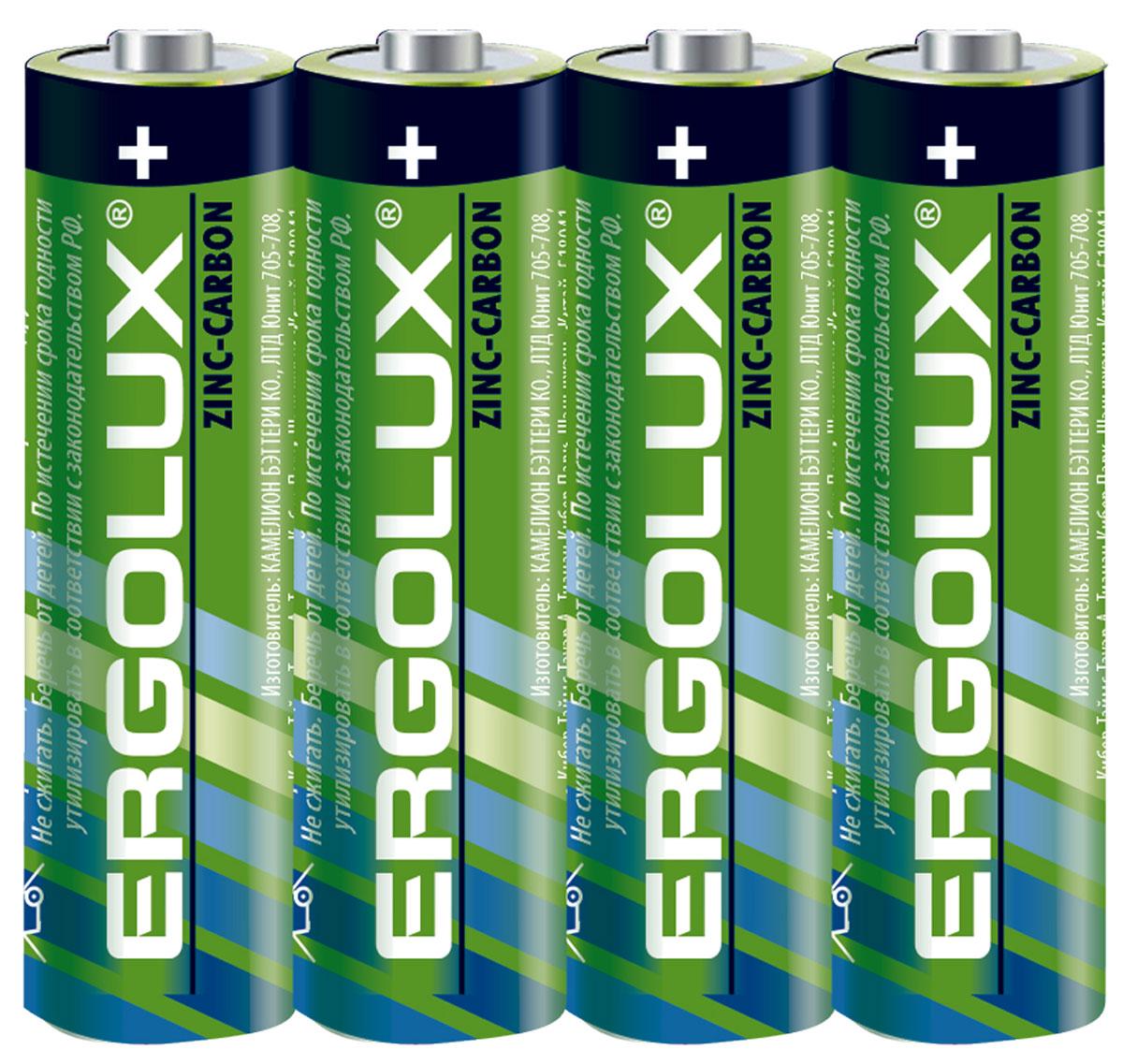 Батарейка Ergolux АА, солевая, 4 шт.12441
