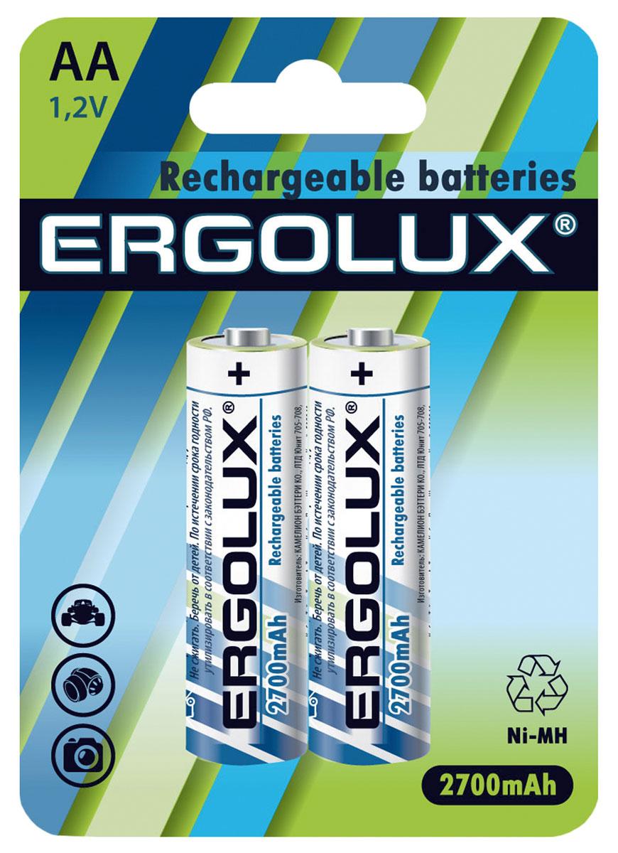 Батарейка Ergolux, аккумуляторная, тип АА, 1,2 В, 2700 мАч, 2 шт12445Батарейка Ergolux является качественным источником питания для разнообразных электроприборов и гаджетов повседневного применения. Это могут быть электронные или механические часы, игрушки, измерительное и оборудование, и прочий вид техники. Данный аккумулятор обладает оптимальной емкостью, отличается высоким качеством и длительным сроком службы, что является основополагающими значениями для элементов питания любого типа, и гарантирует, что оборудование, в котором используется такая батарейка, будет работать исправно и никогда не подведет.В комплекте 2 штуки.