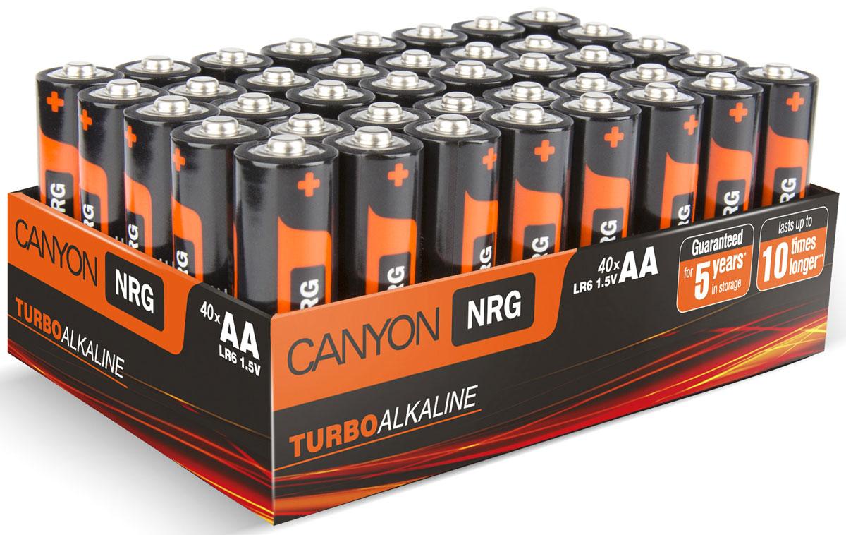Батарейки Canyon NRG, щелочные, тип AA (LR6), 40 шт.ALKAA40Упаковка из 40 батареек типа АА, разработанных для длительной и надежной работы с различными устройствами: видеокамеры, фотоаппараты, мыши, клавиатуры, портативные колонки, часы, геймпады и игрушки. В отличие от многих батареек, теряющих энергию без использования, в батарейках Canyon до окончания срока годности гарантированно останется по меньшей мере 80% от первоначального заряда. Батарейки Canyon не содержат кадмия, ртути и других вредных тяжелых металлов.