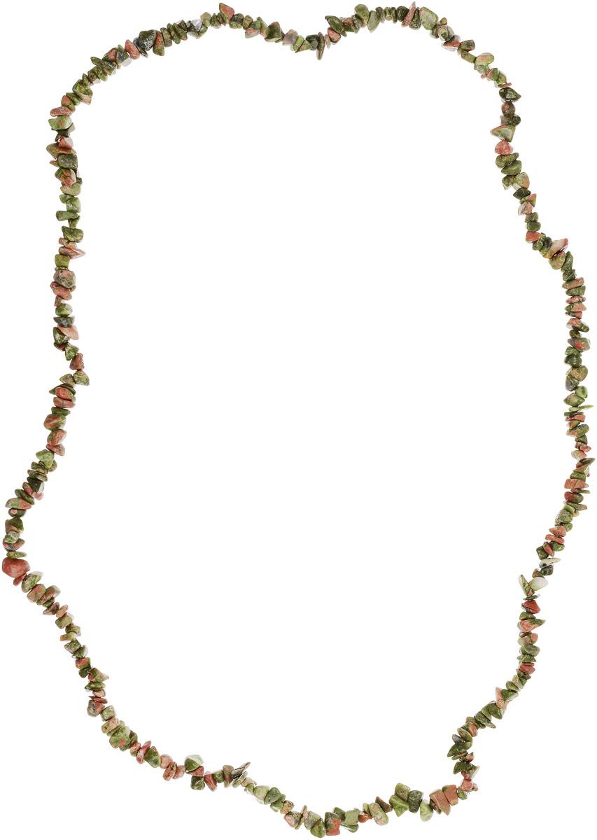 Бусы Револю Забава 2, цвет: зеленый. НУН-75-90-5Колье (короткие одноярусные бусы)Пёстрый унакит - это разновидность гранита, одна из самых прелестных! Унакиту свойственны пятна трёх цветов: зелёного, розового и серого, поэтому каждый кабошон, каждая бусина унакита напоминает миниатюру цветущего розового сада! Окутайтесь цветением душистых садов - примерьте эту хорошенькую вещицу из прелестного унакита!