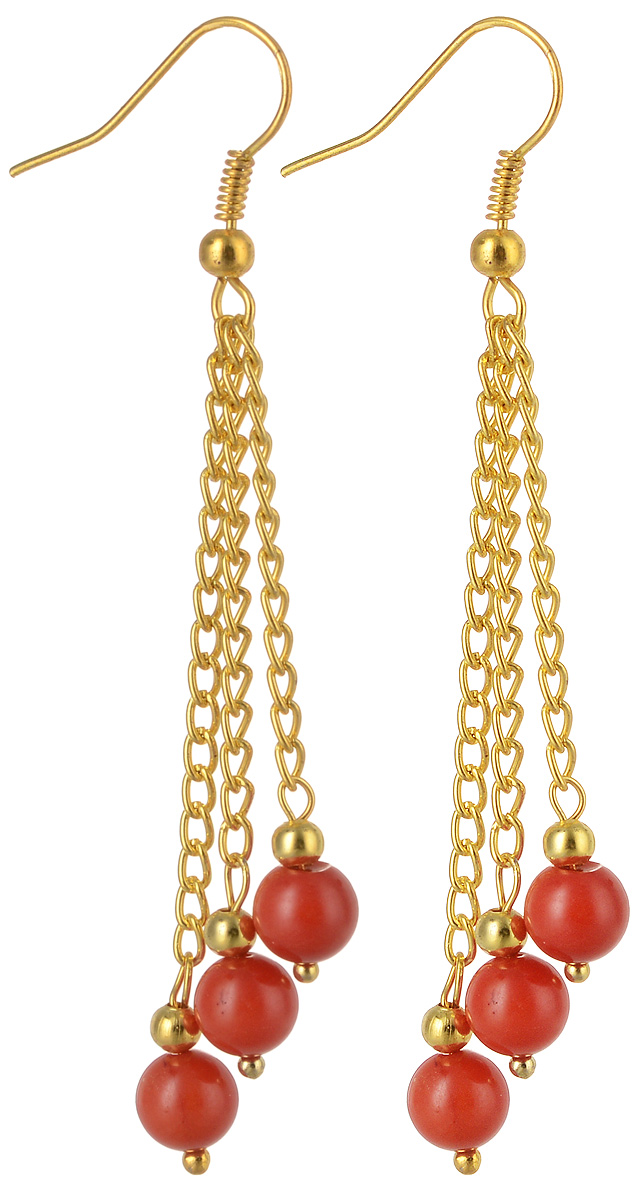 Серьги Револю Гроздь, цвет: красный. с3344Серьги с подвескамиСерьги с натуральным кораллом. Металл - ювелирный сплав. Длина подвески - 50 мм. Серьги с кораллом Гроздь - это потрясающее украшение! Начнём с того, что они имеют не очень-то традиционный для серёжек вид. Серьги эти выполнены из цепочек, что роднит их с модным стилем панк, но в то же самое время они куда более нежны и куда менее агрессивны, чем украшения в стиле панк. Серьги выполнены из золотистых цепочек разной длины, и на каждой цепочке располагается подвеска-бусина из сочно-красного коралла. И золотой, и красный цвет - это модно, поэтому, несмо