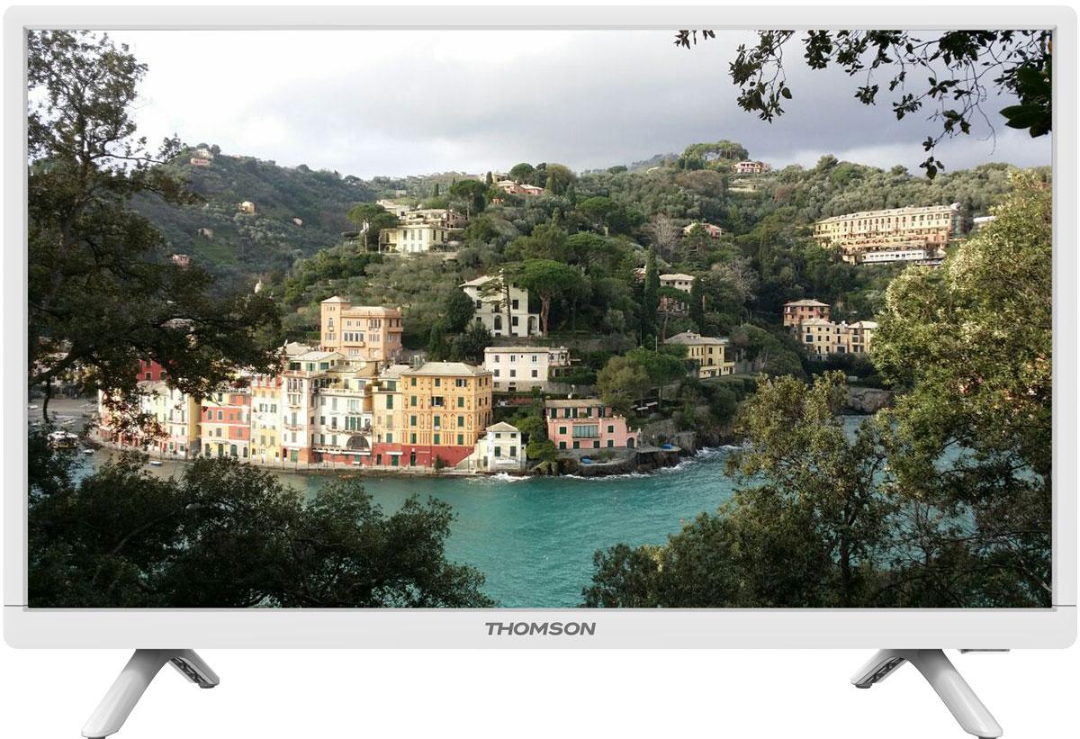 Thomson T24E20DH-01W телевизорT24E20DH-01WТелевизор Thomson T24E20DH-01W оборудован LED подсветкой и поддерживает разрешение HD (1366х768). Оснащен системой динамиков 2.0, выдающих звук общей мощностью 6 Вт. Источником сигнала для качественной реалистичной картинки служат не только цифровые эфирные и кабельные каналы, но и любые записи с внешних носителей, благодаря универсальному встроенному USB медиаплееру. HDMI-порт позволяет подключать современные устройства,Thomson T24E20DH-01W обладает рядом функций, позволяющих добиться наилучшего качества картинки и звука. В их числе шумоподавление. Кроме того, телевизор оснащен удобной функцией TimeShift, благодаря которой при условии подключения к ТВ USB-накопителя, телевизионные трансляции можно ставить на паузу.