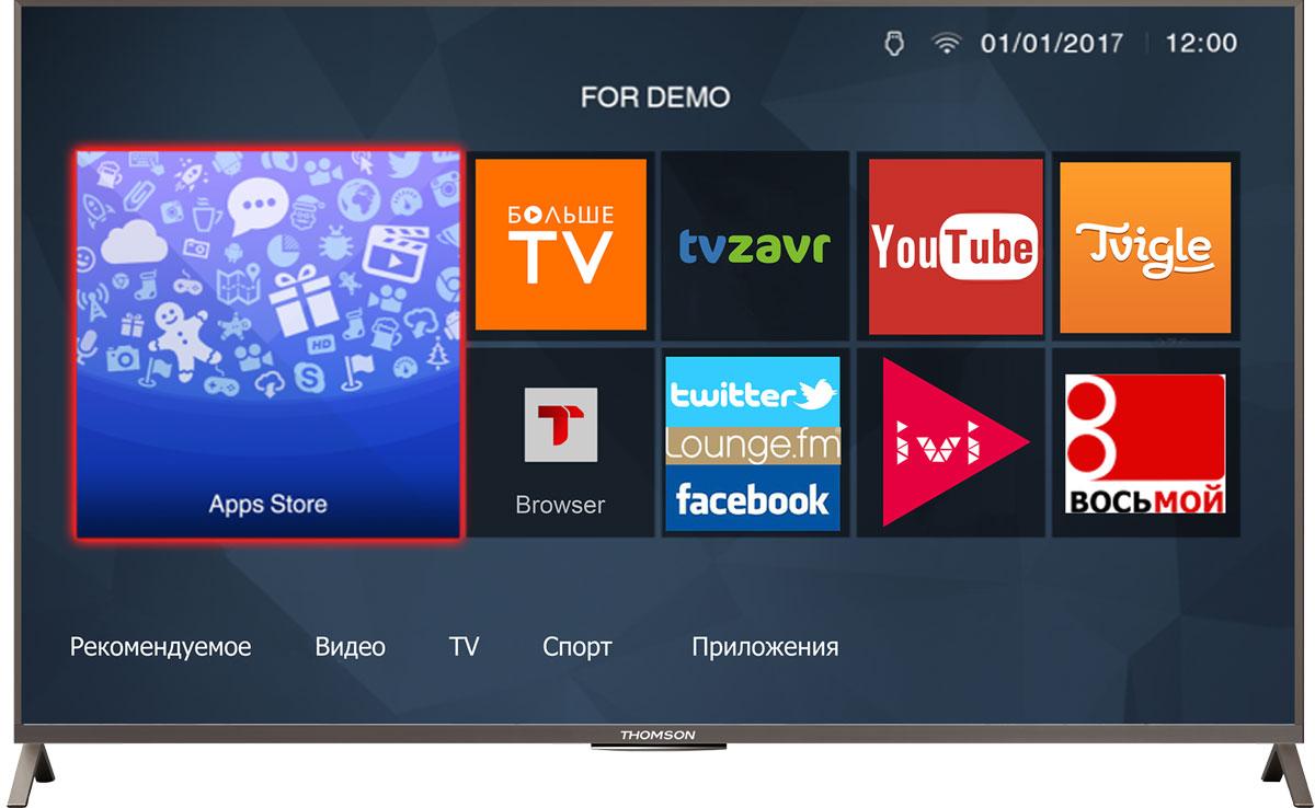 Thomson T49D23SFS-01S телевизорT49D23SFS-01SТелевизор Thomson T49D23SFS-01S со SMART TV оборудован LED подсветкой и поддерживает разрешение Full HD (1920х1080). Оснащен системой динамиков 2.0, выдающих звук общей мощностью 22 Вт. Источником сигнала для качественной реалистичной картинки служат не только цифровые эфирные и кабельные каналы, но и любые записи с внешних носителей, благодаря универсальному встроенному USB медиаплееру. Имеются 3 HDMI-входа, благодаря которым к телевизору могут подключаться современные устройства, поддерживающие разрешение высокой четкости.Thomson T49D23SFS-01S обладает рядом функций, позволяющих добиться наилучшего качества картинки и звука. В их числе шумоподавление. Кроме того, телевизор оснащен удобной функцией TimeShift, благодаря которой при условии подключения к ТВ USB-накопителя, телевизионные трансляции можно ставить на паузу.