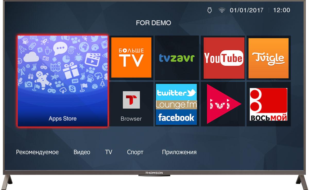 Thomson T55D23SFS-01S телевизорT55D23SFS-01SТелевизор Thomson T55D23SFS-01S со SMART TV оборудован LED подсветкой и поддерживает разрешение Full HD (1920х1080). Оснащен системой динамиков 2.0, выдающих звук общей мощностью 22 Вт. Источником сигнала для качественной реалистичной картинки служат не только цифровые эфирные и кабельные каналы, но и любые записи с внешних носителей, благодаря универсальному встроенному USB медиаплееру. Имеются 3 HDMI-входа, благодаря которым к телевизору могут подключаться современные устройства, поддерживающие разрешение высокой четкости.Thomson T55D23SFS-01S обладает рядом функций, позволяющих добиться наилучшего качества картинки и звука. В их числе шумоподавление. Кроме того, телевизор оснащен удобной функцией TimeShift, благодаря которой при условии подключения к ТВ USB-накопителя, телевизионные трансляции можно ставить на паузу.