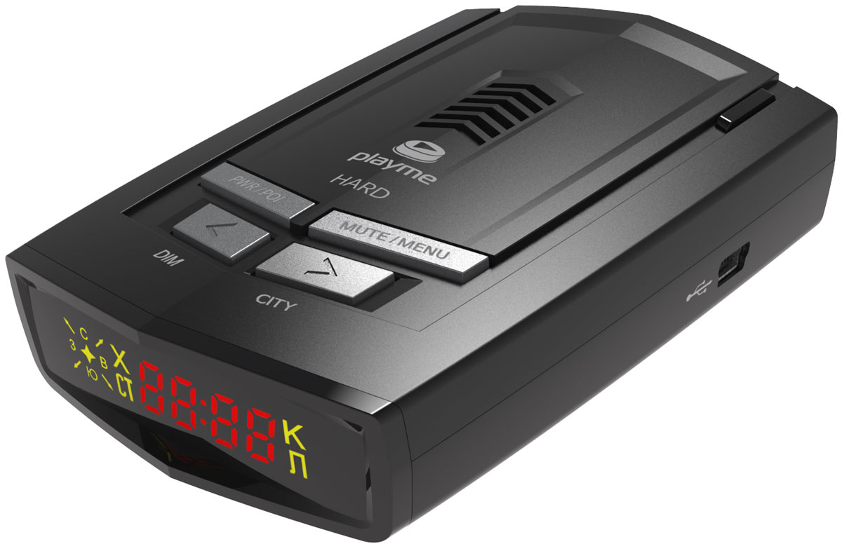 PlayMe Hard радар-детекторPlayMe-HARDРадар-детектор PlayMe Hard отличают прочный традиционный корпус, отличная фиксация на лобовом стекле и качественный GPS-модуль. Устройство находит спутники через несколько секунд после включения. Оно справляется со всеми современными радарами, и с помощью приемника выдает понятные голосовые подсказки.Данная модель имеет уникальный режим работы ГОРОД 3, срабатывания происходят только на стационарные камеры ГИБДД. Именно режим ГОРОД 3 рекомендован для передвижения по крупным городам, а ТРАССА и ГОРОД 1/2/УМНЫЙ режимы - для передвижения между населенными пунктами. Стоит отметить, что срабатывания комментируются голосовыми сообщениями на русском языке.Спектральная чувствительность: 800-1100 нм, обнаружение лазера 360°Возможность обновления GPS базы