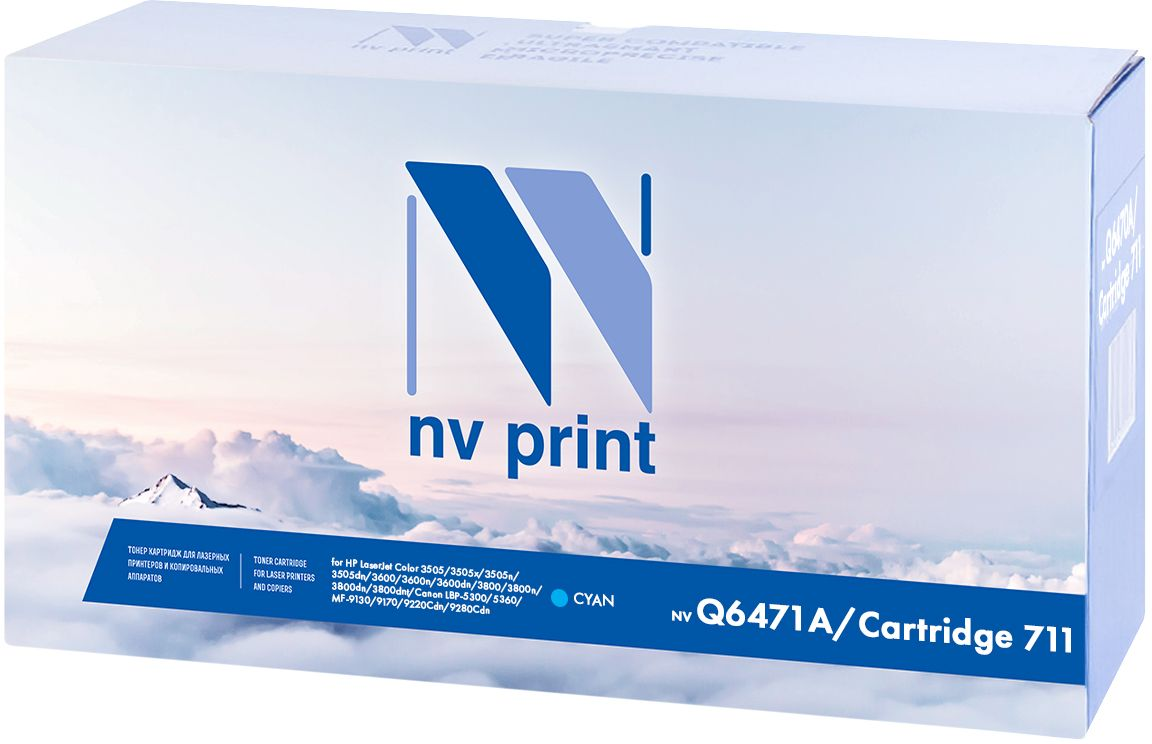 NV Print Q6471A/Canon 711 Cyan тонер-картридж для HP LaserJet Color 3505/3505x/3505n/3505dn/3600/3600n/3600dn/3800/3800n/3800dn/3800dnt/Canon LBP-5300/5360/MF-9130/9170/9220Cdn/9280CdnNV-Q6471A/711CКартридж NVP лазерный совместимый HP, производитель NV Print, модель NV-Q6471A/Canon 711 Cyan для HP LaserJet Color 3505/3505x/3505n/3505dn/3600/3600n/3600dn/3800/3800n/3800dn/3800dnt/Canon LBP-5300/5360/MF-9130/9170/9220Cdn/9280Cdn, ресурс 4000 копий.