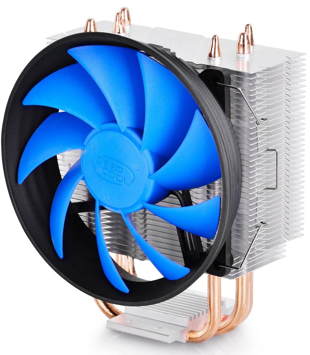 Deepcool GAMMAXX 300 кулер для процессораGAMMAXX 300Система охлаждения Deepcool GAMMAXX 300 с вентилятором в форме турбины является одним из самых рекомендуемых кулеров для всех современных процессоров. GAMMAXX 300 поддерживает технологию Core Touch для максимально быстрого отвода и рассеивания тепла. Благодаря возможности подключения дополнительного вентилятора GAMMAXX 300 станет отличным решением для охлаждения игровых систем.Три тепловых трубки из спекаемого порошка контактируют непосредственно с поверхностью процессора для быстрого отвода тепла и предотвращения перегреваВентилятор с габаритами 120 х 120 х 25 мм и поддержкой ШИМ-управления обеспечивает оптимальную вентиляциюСистема оснащена несколькими крепежами для поддержки платформ Intel LGA1366/1156/1155/1151/1150/775 и AMD AM4/FM2/FM1/AM3+/AM3/AM2+/AM2/K8