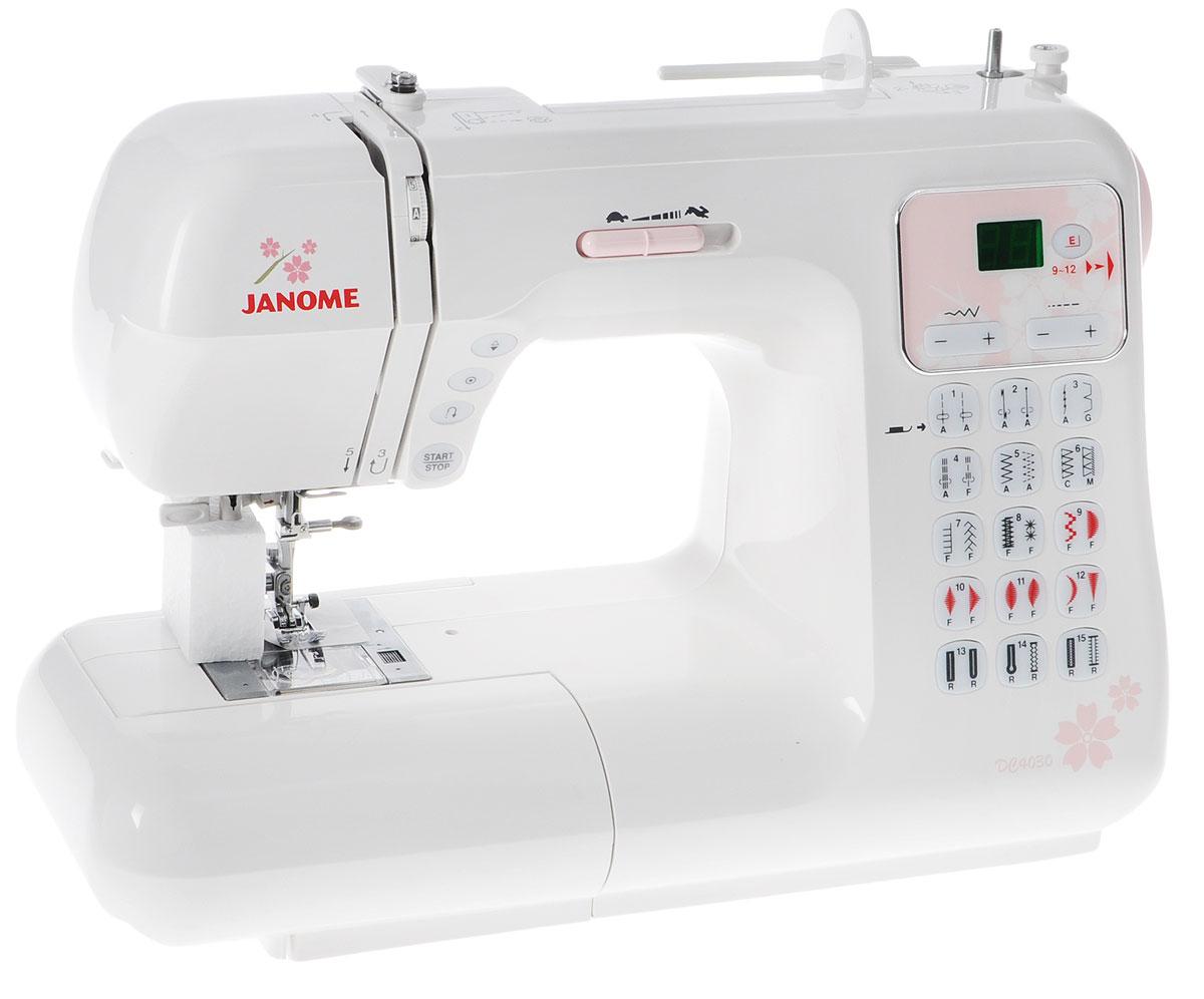 Janome DC4030, White швейная машина4030Серия швейных машин Janome DC пополнилась новой моделью DC4030. Модель, которая подойдёт как для любителя шитья, так и для профессионала. Оптимальный набор строчек, в том числе для декоративного шитья и квилтинга, 6 видов петель, включая петлю с глазком и для трикотажа.С помощью кнопки старт/стоп, используя плавную регулировку скорости, можно работать без пусковой педали. Отличительные особенности: 30 швейных операций, включая 6 петельФункция вытягивания строчки ЖК-дисплей с подсветкойГоризонтальный челнок Максимальная длина стежка до 5ммМаксимальная ширина зигзага до 7ммСъемная рукавная платформа Баланс трикотажных строчекВстроенный нитевдеватель Возможность работы без педали Кнопка регулировки скорости Кнопка позиционирования иглы Кнопка точечной закрепки Регулятор давления лапки на тканьЖесткий чехол Максимальная скорость шитья с педалью 820 ст/минМаксимальная скорость с кнопкой старт/стоп 700 ст/мин