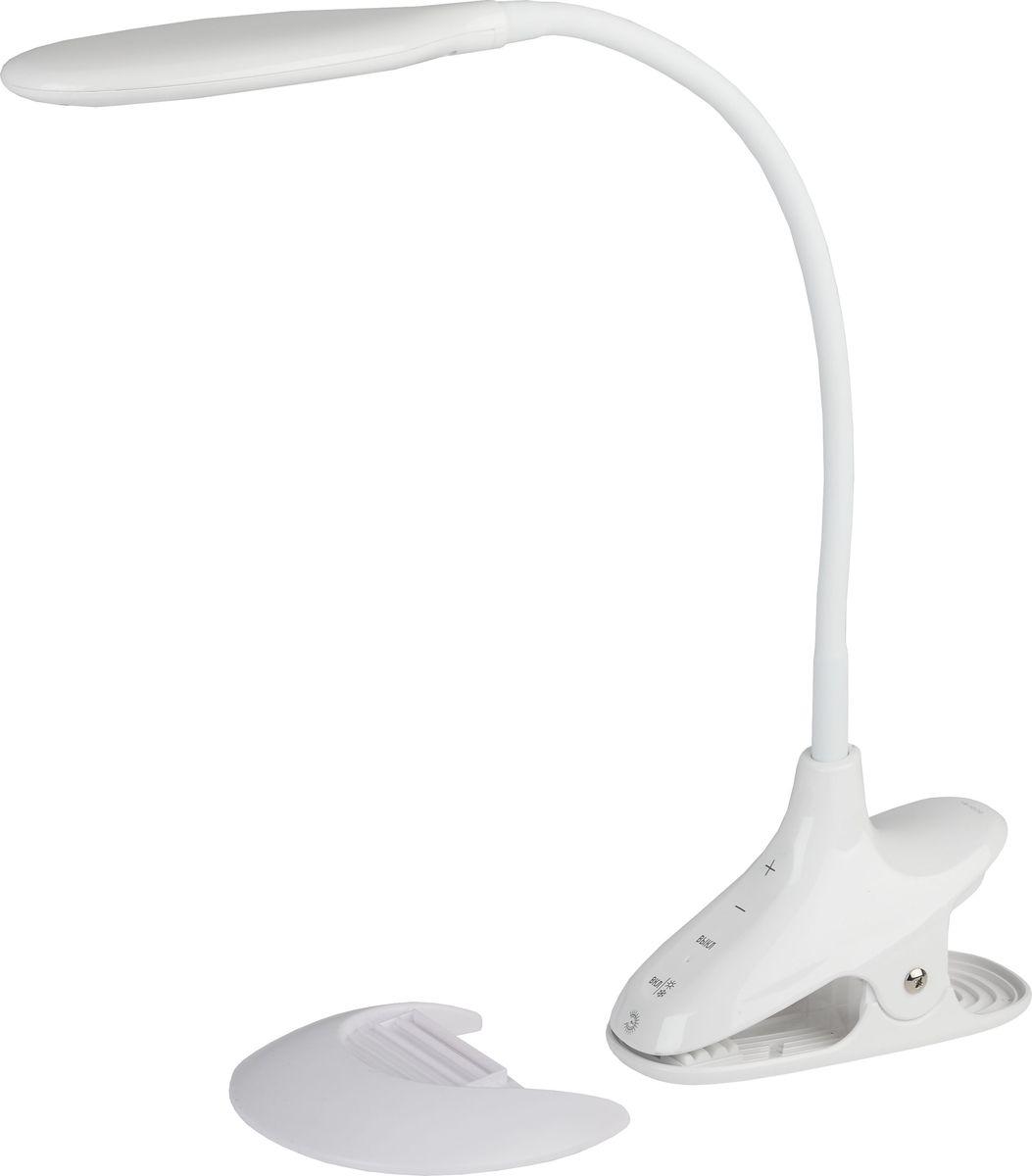 Настольный светильник ЭРА, цвет: белый. NLED-454-9W-WNLED-454-9W-WНастольный светильник ЭРА - светильник со светодиодами (LED) в качестве источников света, которые экономят до 90% электроэнергии и не требуют замены на протяжении всего срока службы светильника.Два варианта крепления: модель на прищепке со съемной вставкой-основанием. Может быть использована как светильник на основании и как прищепка.Сенсорный переключатель на основании.Выбор цветовой температуры - 3 цвета: 3000К, 4500К, 6000К.Пятиступенчатый диммер для регулировки яркости.Гибкая стойка.