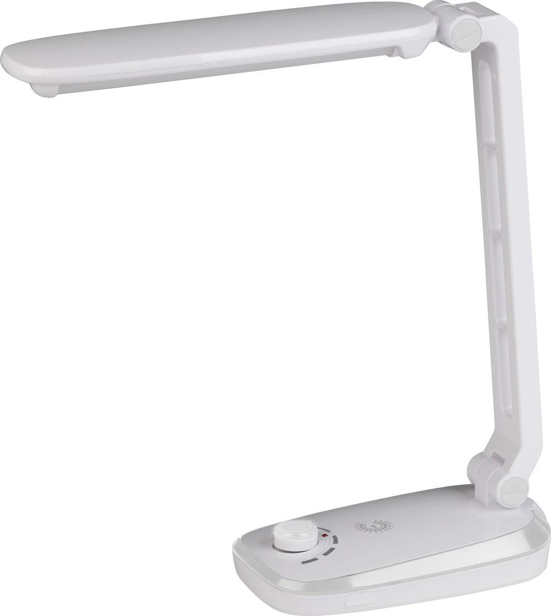 Настольный светильник ЭРА, цвет: белый. NLED-425-4W-WNLED-425-4W-WНастольный светильник ЭРА - светильник со светодиодами (LED) в качестве источников света, которые экономят до 90% электроэнергии и не требуют замены на протяжении всего срока службы светильника.Аккумулятор для автономной работы до 4 часов.Плавная регулировка яркости.Съемный сетевой шнур в комплекте. Устойчивое основание.Складная конструкция.Направление света регулируется наклоном стойки и поворотом панели со светодиодами относительно стойки для максимального комфорта.Теплый свет, аналогичный свету лампы накаливания - цветовая температура 3000К.