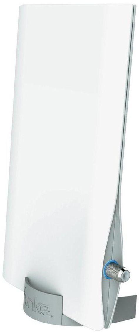 Funke DSC550 комнатная ТВ-антенна (активная)13484Активная компактная комнатная антенна Funke DSC550 специально разработана для приема цифрового телевидения DVB-T/T2.Антенна разработана и произведена в Нидерландах, компанией Funke Digital TV. Вы получаете гарантированное европейское качество материалов и сборки.Современный и красивый дизайн антенны впишется в любой, даже самый современный интерьер.Фирменная технология производителя 4G LTE INERT technology обеспечит защиту от помех 4G мобильных сетейРасстояние от передатчика: до 40 км;Активная антенна: да;Коэффициент усиления UHF: 23 dBi Питание: по кабелю от ресивера или через адаптер;Возможность комнатного и уличного монтажаВстроенный фильтр от 4G LTE помехКорпус: защитный корпус из ударопрочного пластика; Адаптера в комплекте нет