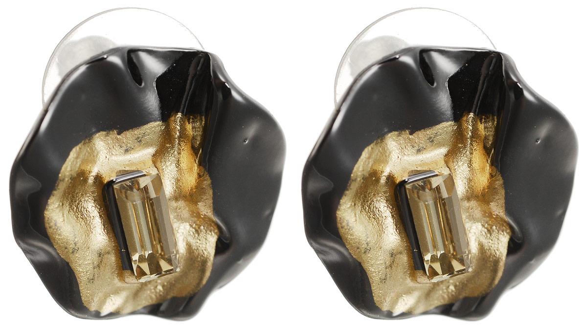 Серьги-пусеты Паола. Бижутерное стекло, гипоаллергенный бижутерный сплав графитового и золотого тона. Krikos, КитайПуссеты (гвоздики)Серьги-пусеты Паола. Бижутерное стекло, гипоаллергенный бижутерный сплав графитового и золотого тона.Krikos, Китай.Размер - диаметр 1,5 см.