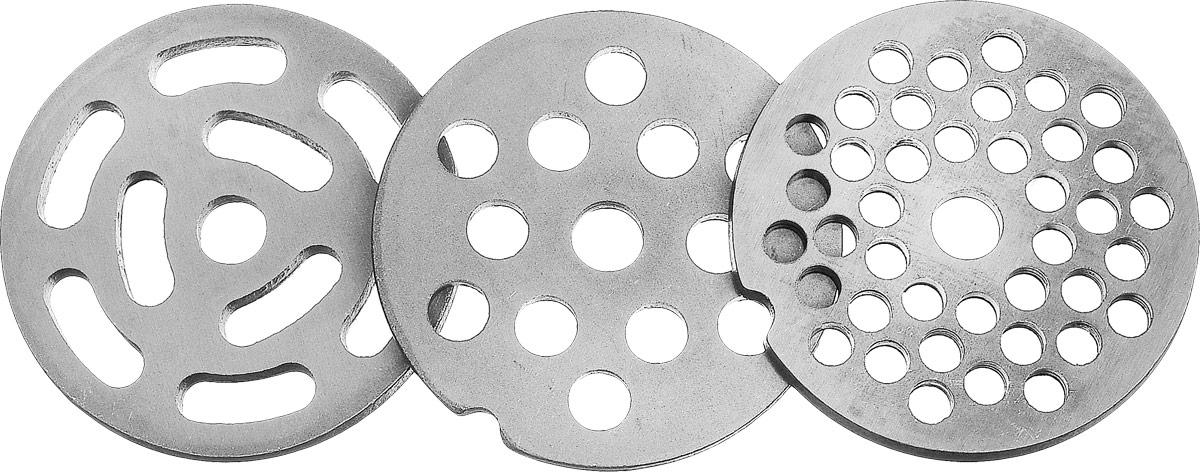 Аксион 21332630 комплект решеток для мясорубки, 3 шт4607159821195Решетки Аксион 21 327 585 предназначены для работы с электрическими мясорубками Аксион и Бриз. В упаковке: стальная решетка с отверстиями диаметром 5 мм, стальная решетка с диаметром 7 мм, стальная решетка с овальными отверстиями.
