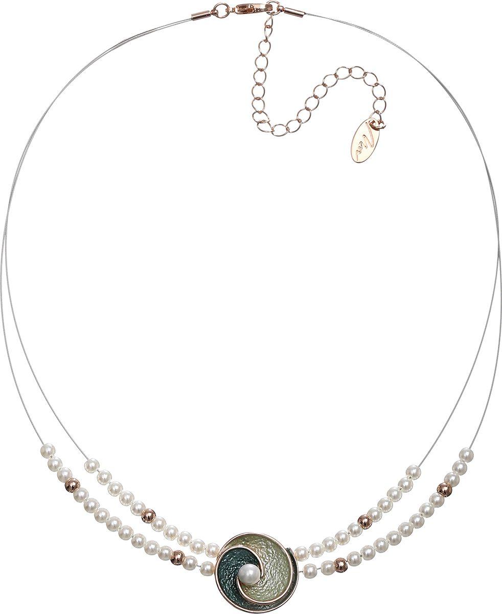 Колье Модные истории, цвет: золотистый. 12/1059Бусы-ошейникКороткое ожерелье на бижутерной леске декорировано жемчугом, подвеска в виде ракушки, покрытой цветной эмалью с жемчужиной. Застежка -карабин позволяет регулировать длину изделия.