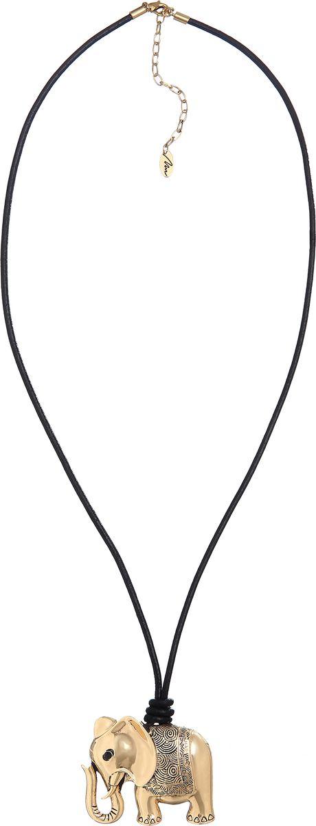 Колье Модные истории, цвет: золотистый. 12/1064/999Колье (короткие одноярусные бусы)Длинное колье на вощеном хлопковом шнуре. Подвеска из бижутерийного сплава золотистого цвета в виде слона. Застежка-карабин позволяет регулировать длину изделия.