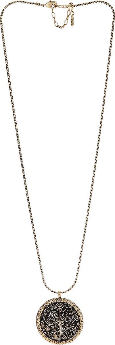 Колье Модные истории, цвет: золотистый. 12/1065Ожерелье (короткие многоярусные бусы)Длинное колье на круглой цепочке. Основной акцент на круглую ажурную подвеску. Застежка-карабин позволяет регулировать длину.