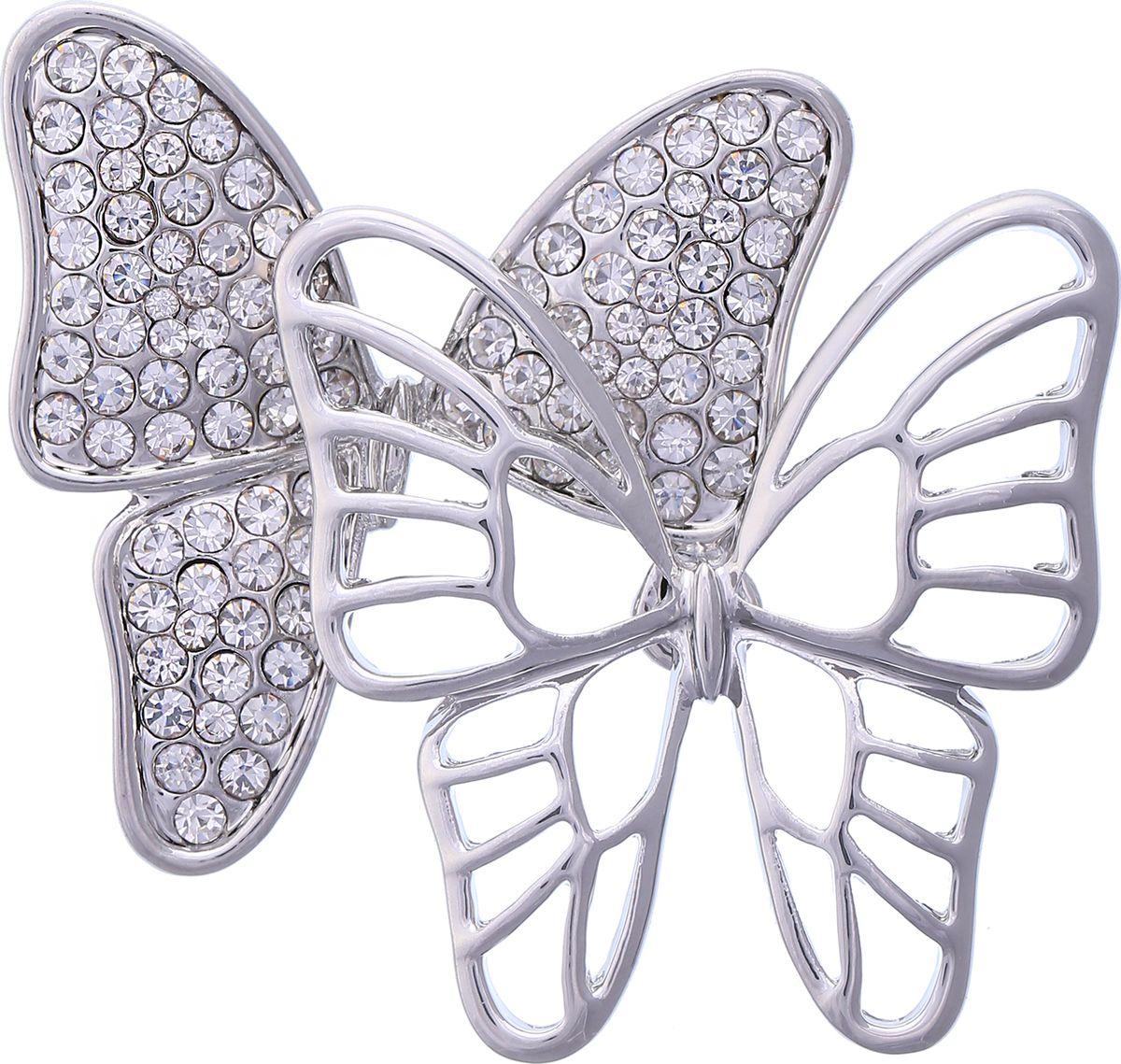Брошь Модные истории, цвет: серебристый. 19/0351/888Ажурная брошьВосхитительная брошь оформлена в виде бабочек. Выполнена из бижутерного сплава серебристого цвета, декорирована стразами. Застежка - булавка.