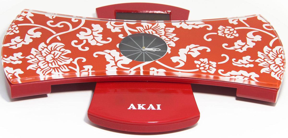 Весы напольные Akai, с часами, электронные, цвет: красный, до 180 кг. 1350/R1350/RВесы напольные, 2 в 1: весы-встроенные часы, с возможностью крепления на стену. Максимальный вес: 150 кг/330 LB, три вида единиц измерения, высокопрочная стеклянная платформа, вращающийся на 180 градусов LСD дисплей. Автоматическое включение и выключение, индикатор заряда батареи.