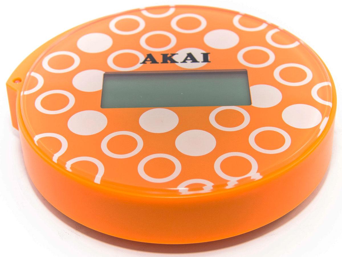 Весы напольные Akai, электронные, цвет: оранжевый, до 150 кг1352/ОВесы напольные, ультракомпактные (всего 13 см в диаметре), максимальный вес: 150 кг/330 LB, три вида единиц измерения. LСD дисплей, индикатор готовности к взвешиванию, фиксация цифровых показаний веса, автоматическое включение и выключение, предупреждение о превышении веса, индикатор заряда батареи.