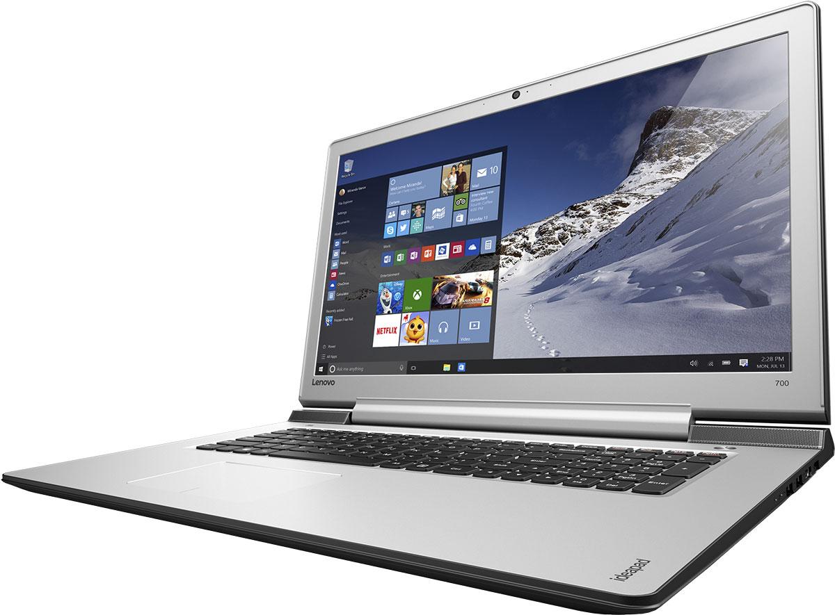 Lenovo IdeaPad 700-17ISK, Black (80RV006BRK)80RV006BRKСтильный легкий мультимедийный ноутбук оснащен высокопроизводительным процессором Intel Core, дисплеем, обеспечивающим превосходное качество изображений, и дискретной видеокартой. Отличительные характеристики 17-дюймового IdeaPad 700 - по-настоящему объемный звук, сверхвысокая скорость Wi-Fi, а также возможность подключения высокопроизводительных твердотельных накопителей.Наряду с уже знакомыми функциями, Windows 10 Домашняя оснащена множеством улучшений, которые ты точно оценишь. Она обеспечивает быструю и слаженную работу всех программ. К тому же устройства, работающие под управлением Windows 10, поддерживают функцию энергосбережения Battery Saver - теперь можно работать и играть еще дольше. Ультрасовременная ОС Windows 10 предлагает больше встроенных средств защиты от вредоносных программ, чем любая другая операционная система.Высокопроизводительный, многофункциональный процессор Intel Core i7-6700HQ со встроенной системой безопасности открывает качественно новые возможности для работы, творчества и 3D-игр. Разбуди свою фантазию и раздвигай границы возможного при помощи ОС Windows 10, дополненной процессором Intel Core шестого поколения.Благодаря 8 ГБ оперативной памяти на ноутбуке можно работать с несколькими приложениями одновременно. А в фоновом режиме ты можешь смотреть фильмы или прослушивать музыку.Дискретная видеокарта NVIDIA GeForce GTX 950M обеспечивает впечатляющую графику. Высокое качество просмотра документов или реалистичное изображения в играх и кино - IdeaPad 700 успешно справится с любыми задачами.Ноутбук оснащен 17,3-дюймовым дисплеем Full HD с высоким разрешением (1920 х 1080). Фотографии и изображения в играх, видеочатах и фильмах становятся более яркими и четкими.С мобильным IdeaPad 700 толщиной всего 25 мм и весом 2,7 кг ты сможешь оставаться на связи и постоянно быть в центре внимания.Оставлять ноутбук без присмотра в шумном кафе может быть весьма накладным делом. Впрочем, в этом нет ниче