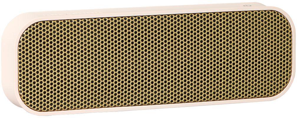 Kreafunk aGROOVE, Light Pink беспроводная портативная колонкаKfdz56Легкая беспроводная колонка со встроенным аккумулятором. Подключается к смартфону через Bluetooth или с помощью кабеля (mini-jack), который входит в комплект. Колонка также совместима с любым устройством, оснащенным Bluetooth-гарнитурой. Простой, лаконичный и стильный дизайн. Корпус колонки имеет покрытие soft touch, приятное на ощупь, а внутри встроен микрофон для совершения hands free звонков. Благодаря компактному размеру aGROOVE легко брать с собой, а качественные компоненты дают чистый и насыщенный звук. Время работы без подзарядки – до 20 часов (при 80% громкости). Поставляется в стильной деревянной коробке, которую украшают слова известного американского радиоведущего Джорджа Еллинека: «История человечества – это история его песен».Технические характеристики:Встроенный аккумулятор (Li-ion) 500 мA/чBluetooth 3.0 EDR standard stereo techniqueНапряжение при зарядке: DC-5.0В – USB-Кабель. Зарядный ток: 1-2 A (Max). Рабочее напряжение: 3.7-4.2ВМощность: 3Вт * 2Сопротивление колонок: 4 Ом (?)Продолжительность зарядки: 2-3 часаВ комплекте USB + AUX-кабель, кабель mini-jack (3.5мм)Международные сертификаты: CE, FCC, RoHS, WEEE