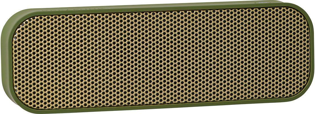 Kreafunk aGROOVE, Army беспроводная портативная колонкаKfdz58Легкая беспроводная колонка со встроенным аккумулятором. Подключается к смартфону через Bluetooth или с помощью кабеля (mini-jack), который входит в комплект. Колонка также совместима с любым устройством, оснащенным Bluetooth-гарнитурой. Простой, лаконичный и стильный дизайн. Корпус колонки имеет покрытие soft touch, приятное на ощупь, а внутри встроен микрофон для совершения hands free звонков. Благодаря компактному размеру aGROOVE легко брать с собой, а качественные компоненты дают чистый и насыщенный звук. Время работы без подзарядки – до 20 часов (при 80% громкости). Поставляется в стильной деревянной коробке, которую украшают слова известного американского радиоведущего Джорджа Еллинека: «История человечества – это история его песен».Технические характеристики:Встроенный аккумулятор (Li-ion) 500 мA/чBluetooth 3.0 EDR standard stereo techniqueНапряжение при зарядке: DC-5.0В – USB-Кабель. Зарядный ток: 1-2 A (Max). Рабочее напряжение: 3.7-4.2ВМощность: 3Вт * 2Сопротивление колонок: 4 Ом (?)Продолжительность зарядки: 2-3 часаВ комплекте USB + AUX-кабель, кабель mini-jack (3.5мм)Международные сертификаты: CE, FCC, RoHS, WEEE