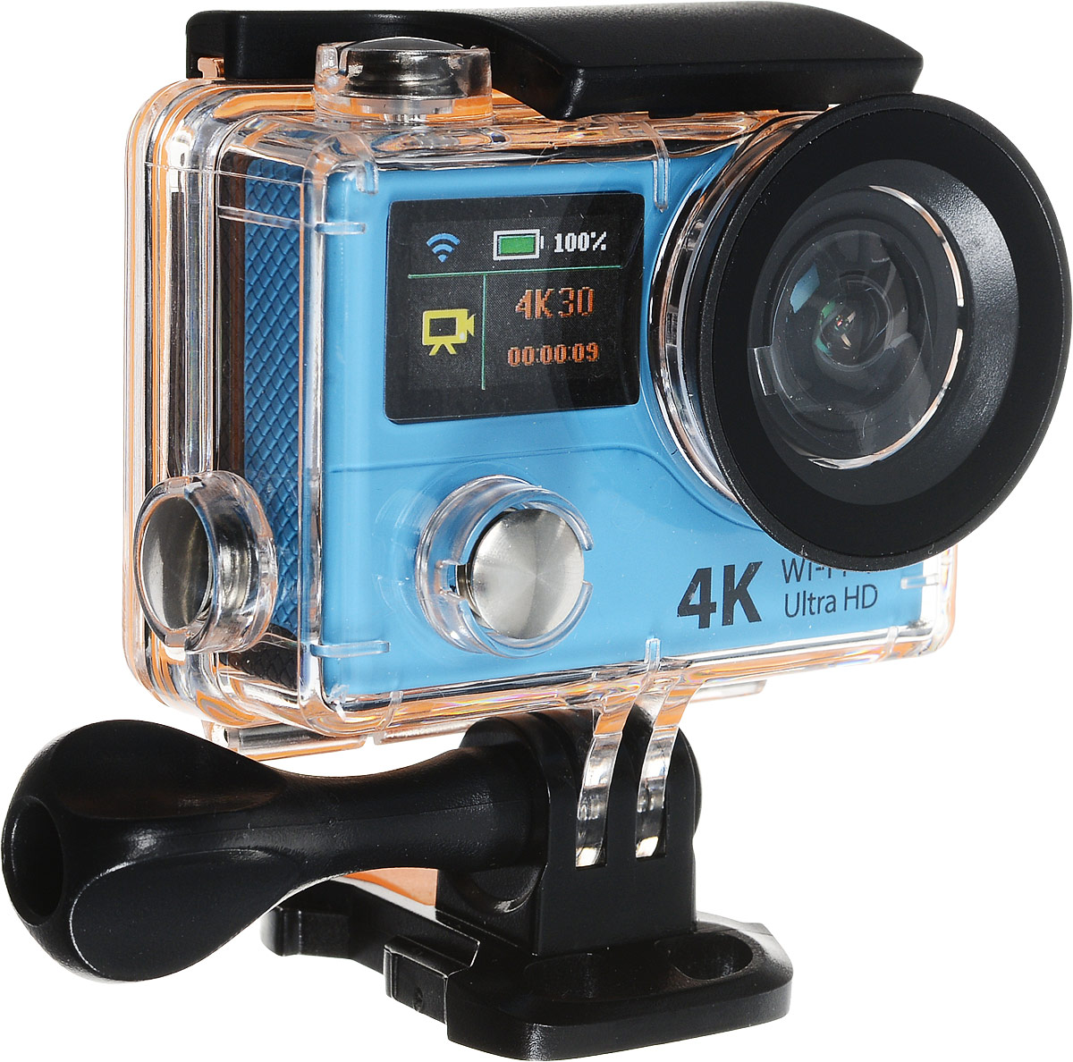 Eken H3R Ultra HD, Blue экшн-камераH3R/H8Rse BLUEЭкшн-камера Eken H3R Ultra HD позволяет записывать видео с разрешением 4К и очень плавным изображением до 25 кадров в секунду. Камера имеет два дисплея: 2 TFT LCD основной экран и 0.95 OLED экран статуса (уровень заряда батареи, подключение к WiFi, режим съемки и длительность записи). Эта модель сделана для любителей спорта на улице, подводного плавания, скейтбординга, скай-дайвинга, скалолазания, бега или охоты. Снимайте с руки, на велосипеде, в машине и где угодно. По сравнению с предыдущими версиями, в Eken H3R Ultra HD вы найдете уменьшенные размеры корпуса, увеличенный до 2-х дюймов экран, невероятную оптику и фантастическое разрешение изображения при съемке 25 кадров в секунду!Управляйте вашей H3R на своем смартфоне или планшете. Приложение Ez iCam App позволяет работать с браузером и наблюдать все то, что видит ваша камера. В комплекте с камерой идет пульт ДУ работающий на частоте 2,4 ГГц. Он позволяет начинать и заканчивать съемку удаленно.