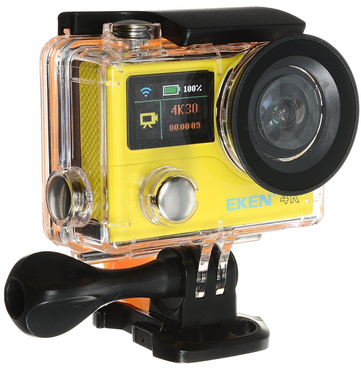 Eken H3R Ultra HD, Yellow экшн-камераH3R/H8Rse YELLOWЭкшн-камера Eken H3R Ultra HD позволяет записывать видео с разрешением 4К и очень плавным изображением до 25 кадров в секунду. Камера имеет два дисплея: 2 TFT LCD основной экран и 0.95 OLED экран статуса (уровень заряда батареи, подключение к WiFi, режим съемки и длительность записи). Эта модель сделана для любителей спорта на улице, подводного плавания, скейтбординга, скай-дайвинга, скалолазания, бега или охоты. Снимайте с руки, на велосипеде, в машине и где угодно. По сравнению с предыдущими версиями, в Eken H3R Ultra HD вы найдете уменьшенные размеры корпуса, увеличенный до 2-х дюймов экран, невероятную оптику и фантастическое разрешение изображения при съемке 25 кадров в секунду!Управляйте вашей H3R на своем смартфоне или планшете. Приложение Ez iCam App позволяет работать с браузером и наблюдать все то, что видит ваша камера. В комплекте с камерой идет пульт ДУ работающий на частоте 2,4 ГГц. Он позволяет начинать и заканчивать съемку удаленно.
